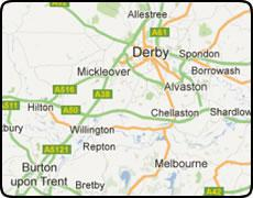 map of Derby showing  Burton Upon Trent     and